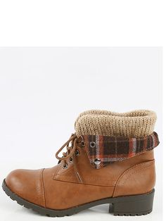 Soda Plaid Fold Over Ankle Boots TAN | MakeMeChic.COM