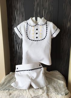 baby boy white yellow summer outfit  toddler shorts by pitufos