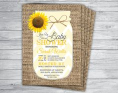 Printed 5x7 Sunflower Chevron Mason Jar Burlap Baby Shower Invitations w/ Envelopes  by PrintPros