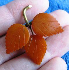 Natural Baltic Amber Pin Brooch leaf petal orange 老琥珀 gemstone USSR marked МЕТ #Handmade