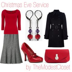 Christmas Eve Service by themodestcloset on Polyvore featuring Dorothy Perkins, Burberry, Pinup Couture, Raoul, Dabby Reid, black and red, modesty, classy, christmas red and christmas
