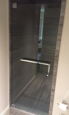Shower Door with Towel Bar pull combo- Brilliant! -chrome square  The Glass Shoppe
