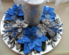 Christmas Centerpiece in Bue & Silver/ Holiday Centerpiece / Christmas Centerpiece / Holiday Decor / Blue and Silver Christmas Centerpiece