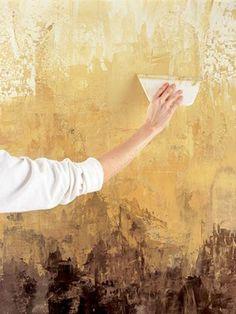 wände verputzen dekor streichputz in gelb