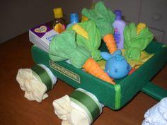John Deere Tractor and Wagon Diaper Cake by ShelvasDiaperCakes