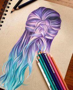 haar tekenen Cool Drawing Purple x Blue hair Pretty Drawings, Cool Art Drawings, Pencil Art Drawings, Amazing Drawings, Beautiful Drawings, Colorful Drawings, Art Sketches, Amazing Art, Hair Drawings