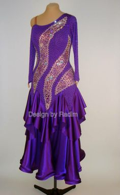 Purple Rain Dance Crepe, Lace, Luxury Satin and Crystal AB (Front)
