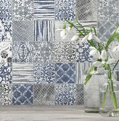 """We are in love with these patchwork tiles for a country kitchen backsplash. And Artistic Tile has created the patchwork pattern for you - right in each tile. These 12""""..."""