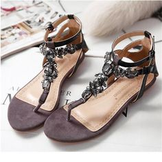 2015 Summer Style Women Shoes Snake Skin Straps Black Gem Decorative Flat Sandals Roman Thong Sandals