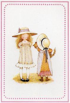 Alte Ansichtskarte Holly Hobbie Rosa von CuteEyeCatchers auf Etsy