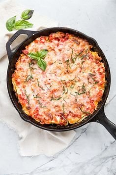 Only one dish required for this easy One-Skillet Zucchini Lasagna recipe. And it's gluten free.