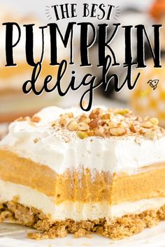 Instead of pumpkin pie this fall (or Thanksgiving!), try this easy pumpkin delight dessert recipe instead! A homemade pecan and graham cracker mix forms a delicious crust that is topped with three layers of light and fluffy filling -- including cream cheese, pumpkin, pudding and Cool Whip. Deserts With Cream Cheese, Pumpkin Cream Cheeses, Cheese Pumpkin, Cream Cheese Dips, Pumpkin Pie Mix, Baked Pumpkin, Pumpkin Pudding, Best Pumpkin, Pumpkin Deserts