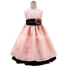 Pink Flower Girl Dress with Brown Accent
