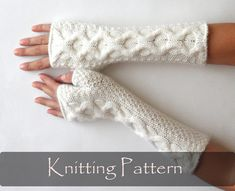 KNITTING PATTERN Knit Fingerless Mittens Cable by AimarroPatterns