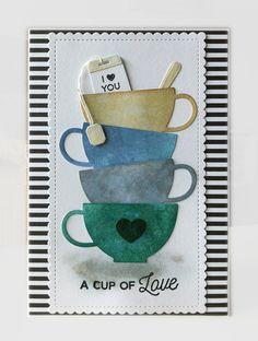 Card cup tea cups stack MFT Tea Party Die-namics MFT Cup of Tea Die-namics #mftstamps Tim Holtz distress ink - JKE