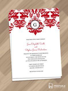 Elegant Damask Border with Monogram Invitation. For customizations, printableinvitationkits[at]gmail[dot]com