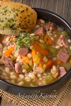 (Canada) Ham and Bean Soup, my favourite recipe for left over ham. artandthekitchen.com