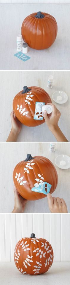 Fall Decor - Stenciled pumpkins - No matter where you live, you can create some beautiful fall foliage with paints and stencils from marthastewartcrafts Pumpkin Art, Pumpkin Crafts, Fall Crafts, Holiday Crafts, Holiday Fun, Pumpkin Painting, Pumpkin Carvings, Pumpkin Cookies, Pumpkin Bread