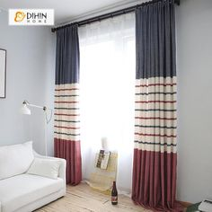 Modern j simple linen dyed shade white tulle window living room balcony bedroom curtains home decoration custom Living Room Windows, New Living Room, Living Room Modern, Glass Door Coverings, Window Coverings, Modern Curtains, Drapes Curtains, Bedroom Curtains, Patriotic Room
