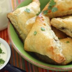 Mushroom Puffs - puff pastry filled with a savory herb and mushroom mixture