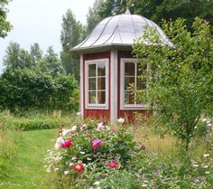 bell roof hexagon shed red and white Red Cottage, Garden Cottage, Home And Garden, Gazebo, Pergola, Summer Sheds, Wild Flower Meadow, Wooden Greenhouses, Swedish House