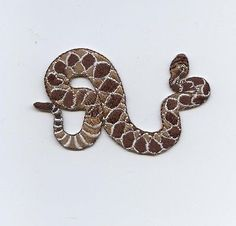 "Iron On Embroidered Applique : - Diamond Back Rattle Snake - Measures 2 "" x 3"" or 5.08cm x 7.62cm"