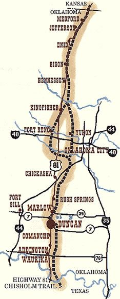 A Map Of The Chisholm Trail