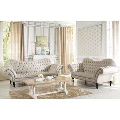 Baxton Studio Bostwick Beige Linen Classic Victorian Sofa Set | Overstock.com Shopping - Big Discounts on Baxton Studio Living Room Sets