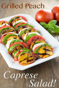 Grilled Peach Caprese Salad is a whole new twist on a classic Italian dish.  Light and refreshing with a surprising sweet smokiness, this salad will be a hit at your next BBQ or picnic!