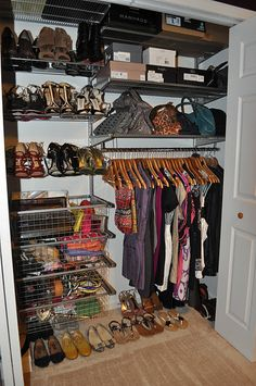 elfa reach-in closet with lots of shoes to store. Love the accessory storage and all those natural wood hangers for hanging cocktail-length dresses. Elfa Closet, Hallway Closet, Reach In Closet, Walk In Wardrobe, Purse Storage, Shoe Storage, Elfa Shelving, Cocktail Length Dress, Beautiful Closets