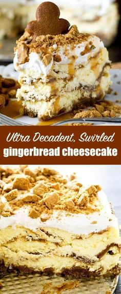 Thick, rich, gingerbread cheesecake layered with gingerbread loaf batter. Spiced whipped topping, crushed gingersnaps and caramel top this decadent, holiday dessert. Gingerbread Cheesecake Recipe {Baked Cheesecake with Gingersnaps} #gingerbread #cheesecake #christmas #gingersnaps via @tastesoflizzyt