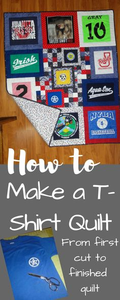 Make a T Shirt Quilt 2019 Step by step tutorial to turn treasured shirts into a memory quilt The post Make a T Shirt Quilt 2019 appeared first on Quilt Decor. Quilting For Beginners, Quilting Tutorials, Quilting Projects, Sewing Projects, Quilting Ideas, Quilting 101, Diy Projects, Machine Quilting, Memory Pillows