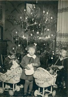 Santa unloaded gifts galore for 3 good little children.