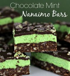 Chocolate Mint Nanaimo Bars (No Bake)!  Easy and OH so delicious!  These freeze really well too!