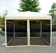 Outdoor Gazebo Canopy Pop Up Party Tent Mesh Mosquito Net Patio Tan 24144514148 Patio Tents, Hot Tub Gazebo, Gazebo Canopy, Patio Gazebo, Diy Gazebo, Gazebo Curtains, Pergola, Diy Tent, Canopies
