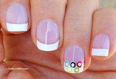 #Olympicrings #white #frenchmanicure #nailart French Manicure Nails, French Manicure Designs, Nail Designs, White Nail Art, White Nails, Easy Nail Art, Nail Tutorials, Simple Nails, Diy