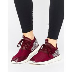 adidas Originals Maroon Tubular Sneakers With Cracked Leather Detail ($120) ❤ liked on Polyvore featuring shoes, sneakers, red, adidas, red trainers, maroon shoes, red lace up shoes and laced up shoes
