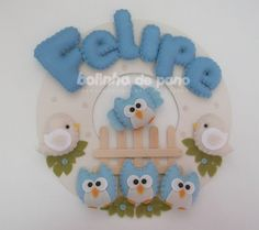 Enfeite Porta Maternidade Corujinha Azul   Bolinha de Pano   383D06 - Elo7