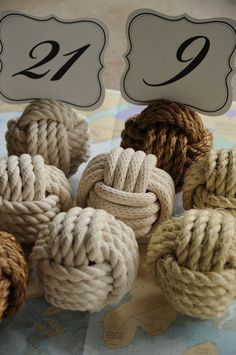 Nautical Wedding Table Knot Number Holders (per knot, 4 different types of rope) on Etsy, $10.00