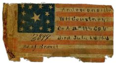 13 Stars, 1864. Andersonville Prison Memorial of W. H. Courtney, A Co., 12th New York Volunteers, 1864. One of the most personal and poignant relics to have survived the American Civil War, this flag was present in Andersonville Prison and commemorates the death of Private William Courtney on July 14, 1864. A more detailed description of the flag can be found here. Small parade flags such as this were often carried by Union soldiers in their uniforms or between the pages of their bibles. T...