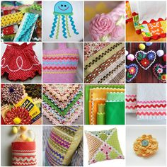 Rickrack inspiration and tutorials.  This a great link to all kind of ric rac projects.  Check out my website for a variety of colors and sizes of ric rac.  www.allstitchedupbyangela.com