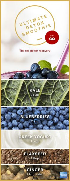 After a long vacation or business trip, sometimes your body needs a healthy cleanse to get back on track. Our Good As Gold detox smoothie recipe is an easy way to do just that. This delicious drink is packed with fruits, greens, and antioxidants: kale, blueberries, ginger, Greek yogurt, and flax seeds. Measure out the ingredients and throw it all in the blender to create a quick, tasty smoothie that will help you recover. Click the image to see more ways you can detox after a tiring trip.