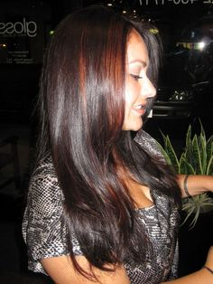 Fall Hair, Auburn Hair color with peek-a-boo highlights, copper panels, www.theglosssalon.com