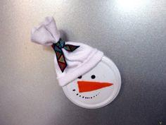 Kreatív Karácsony 2013: Hóember hűtőmágnes befőttes üveg tetejéből
