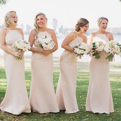 Beautiful #bridesmaids wearing our Isabella dresses in Nude | Also comes in Ivory, Dusty Pink, Navy and Peach | Click link in bio to shop! #whiterunway #wedding #weddingfashion #theknot