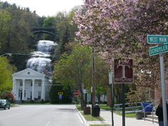 Montour Falls in New York.  What were they thinking building main street in front of that beautiful waterfall?  Sure is an awesome sight.  A must see...
