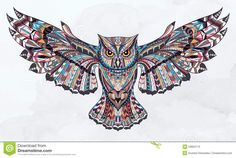Patterned Owl Stock Vector - Image: 53684113