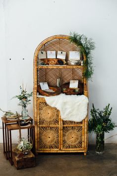 We had such a blast styling this bohemian wedding inspiration shoot with natural tones and textures. The inspiration behind this wedding editorial was earthy bohemian [. Boho Living Room, Home And Living, Living Room Decor, Bedroom Decor, Living Spaces, Wicker Bedroom, Wicker Shelf, Home Decor Inspiration, Wedding Inspiration