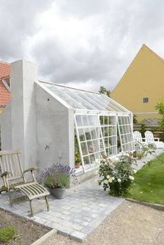 Greenhouse with brick gables orangery, # greenhouse ., Greenhouse with brick gables orangery, # greenhouse Dream Garden, Home And Garden, Big Garden, Casa Wabi, Outdoor Spaces, Outdoor Living, Garden Studio, Exterior, Glass House