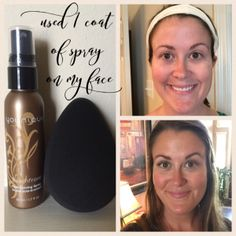 1 coat of Younique tanning spray on my face